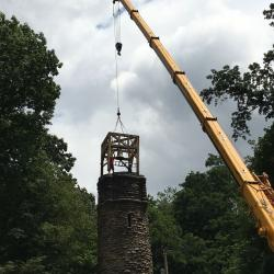 It took about three minutes to lift the bell tower into place.