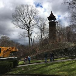 Glendale Cemetery's historic 700-pound bell and part of its 130-year-old tower were removed Tuesday, April 4 for restoration. (Jennifer Conn, cleveland.com)