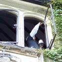Painting the window frames with rust-inhibitive paint